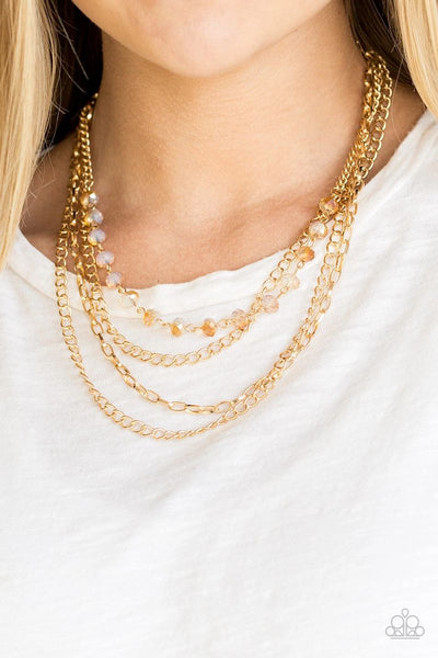 Extravagant Elegance - Gold - Paparazzi Necklace