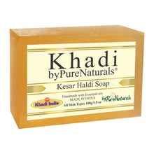 Load image into Gallery viewer, Khadi Kesar Haldi Soap byPureNaturals