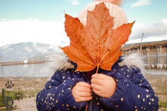 Young girl exploring outdoor play, covering her face with large autumn leaf
