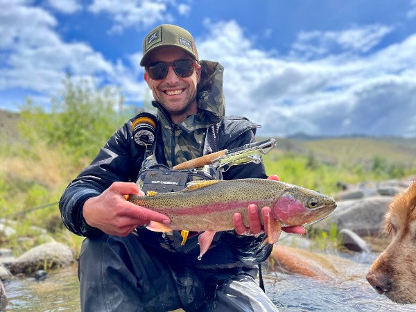 GREG DERING WITH A COLORFUL RAINBOW TROUT CAUGHT USING TRUCKEE RESIDENT JEFF SASAKI'S INNOVATIVE NEW STINGER REEL, PHOTO COURTESY MAVRK