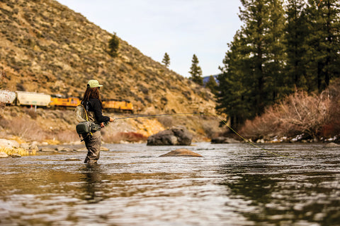 FLY-FISHING THE TRUCKEE RIVER OFTEN INCLUDES CLOSE ENCOUNTERS WITH RENO SOUTHERN PACIFIC TRAINS, PHOTO BY JASON SHIELDS, COURTESY TROUT CREEK OUTFITTERS