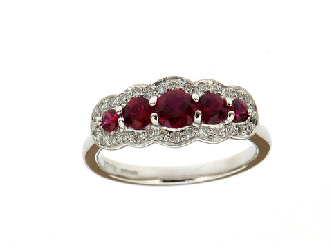 Ruby and Diamond Five Stone Cluster Ring