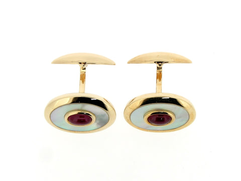 9ct Gold, Ruby and Mother-of-Pearl Cufflinks