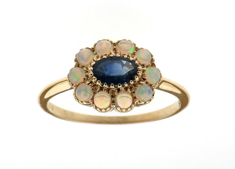 Sapphire and Opal Cluster Ring