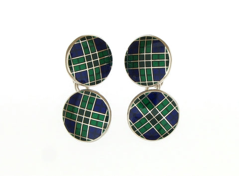 Silver and Enamel Tartan Cufflinks