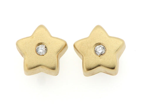 18ct Gold and Diamond Star Shaped Earrings