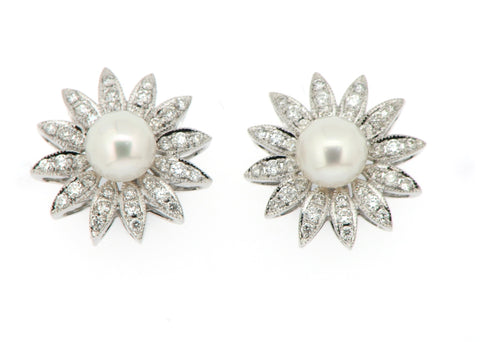 Cultured Pearl and Diamond Cluster Earrings