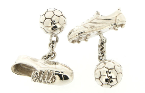 Silver Football Boot Cufflinks