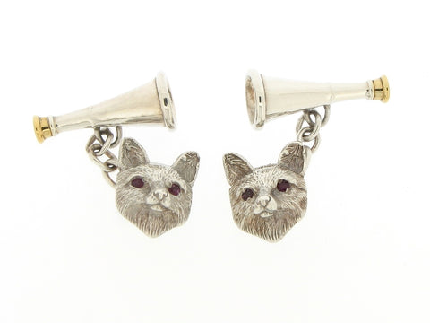 Silver, Gilt and Ruby Fox Cufflinks
