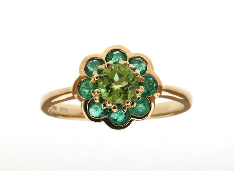 Peridot and Emerald Cluster Ring