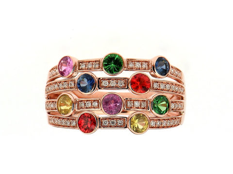 "Multi Gem ""Bubbles""Ring"