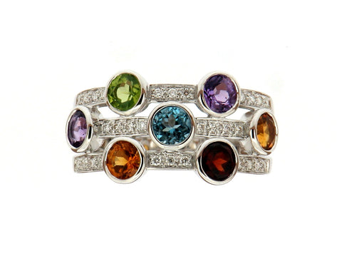 "Multi Gem ""Bubbles"" Ring"