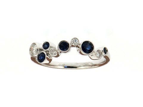 "Sapphire and Diamond ""Bubbles"" Ring"