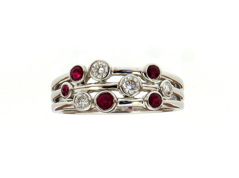 "Ruby and Diamond ""Bubbles"" Ring"