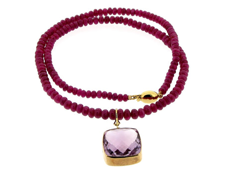 Ruby Necklace with Amethyst Clip