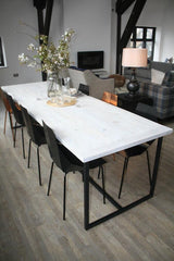 A reclaimed wood dining table from Salvation Furniture