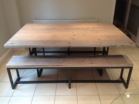 Deben table in reclaimed wood with accompanying bench