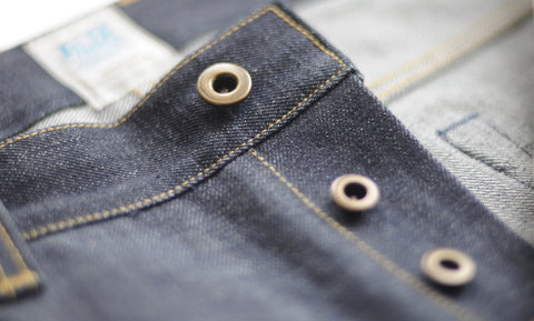 A detail shot of a pair of Old Custom Clothing Co selvedge denim jeans