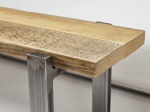 The warmth of reclaimed wood is a key feature of the Uff bench