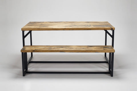 Our Deben table and bench, both in oak, the wood reclaimed from old French coal carriages