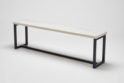 The simple Scandinavian-influenced design of our Deben bench in reclaimed wood and steel