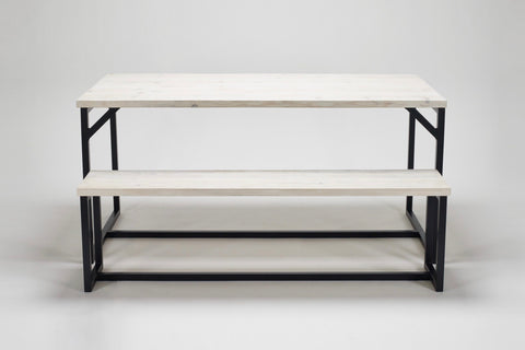 An image of our Deben dining table and bench, both in reclaimed wood and steel