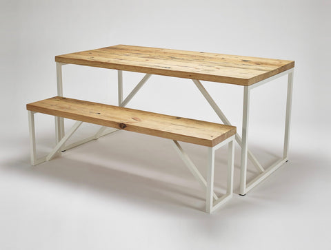 The Kanteen table and accompanying bench are both made from reclaimed wood with steel supports