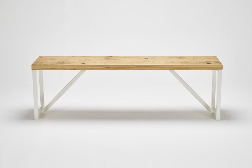 Our Kanteen bench has the character of reclaimed pine combined with striking steel supports