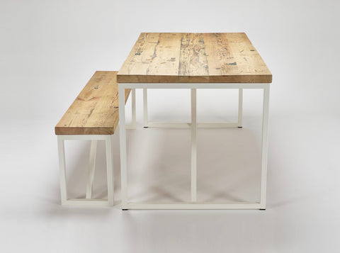 An end view of our Kanteen table and bench made from reclaimed wood with steel supports