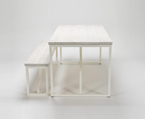 An end view of the Kanteen table and bench