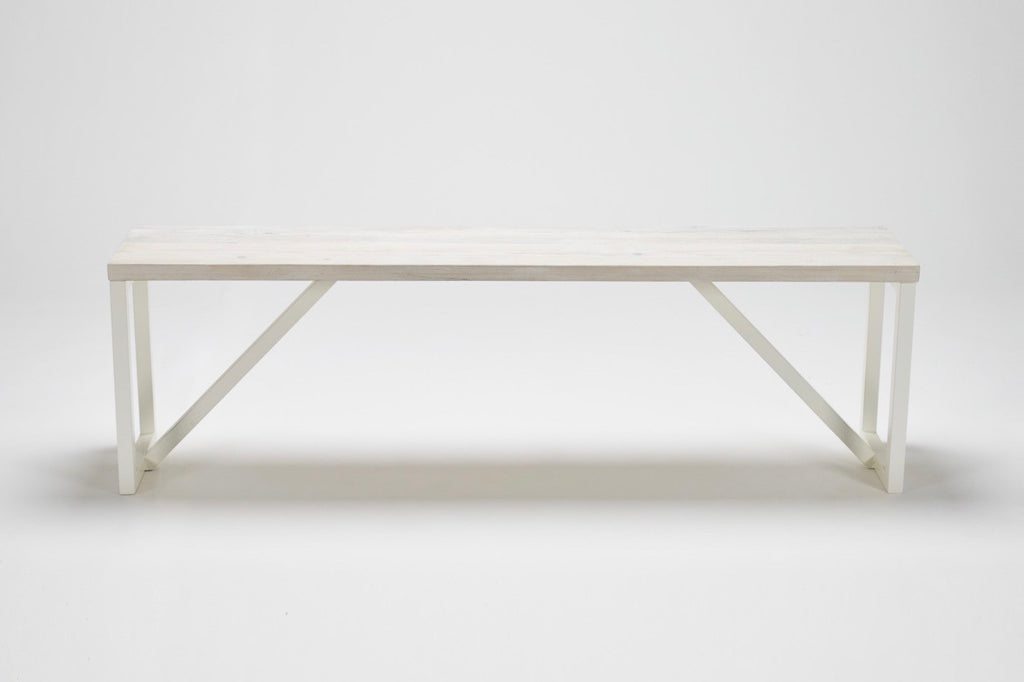 Our Kanteen bench combines reclaimed wood and modernist steel supports