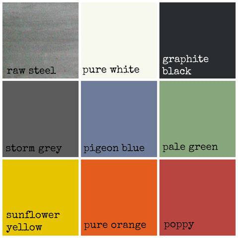 The choice of powder coat colours available for the steel frame of our reclaimed wood bench