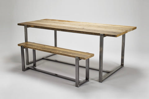 The Uff bench can be accompanied with the Uff table, both made from reclaimed wood on sturdy steel frames