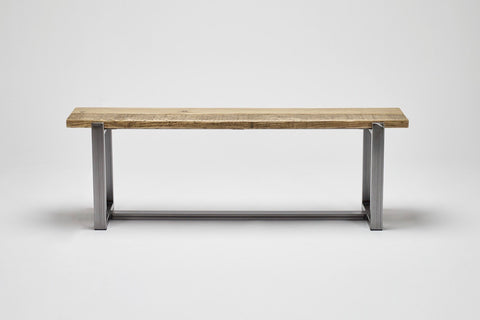 The Uff bench incorporates a reclaimed wood top with a robust steel frame