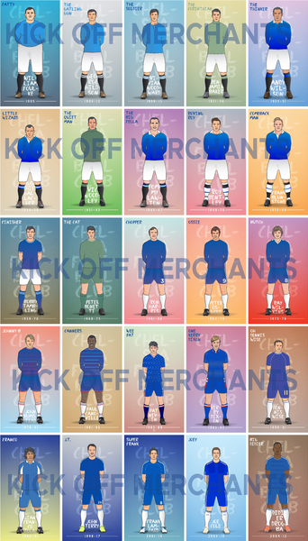 'Blue Army 25 Legends'  A3 Poster