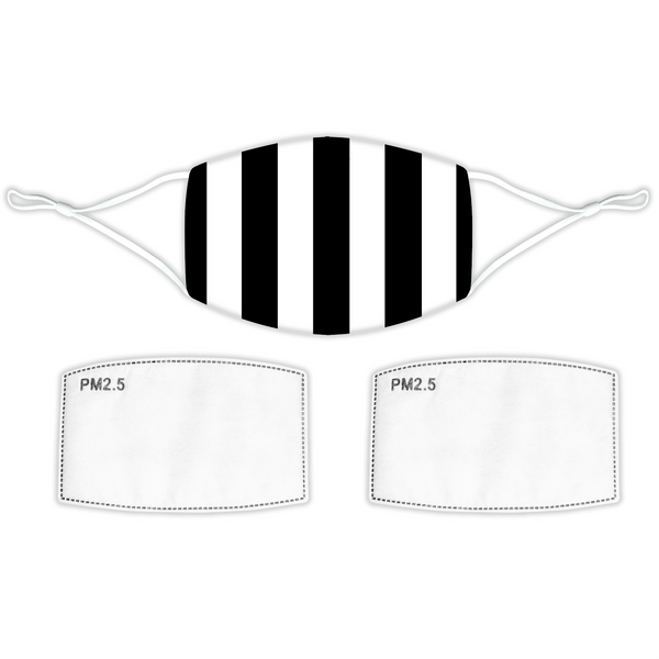 Black and White Bar Striped Face Mask