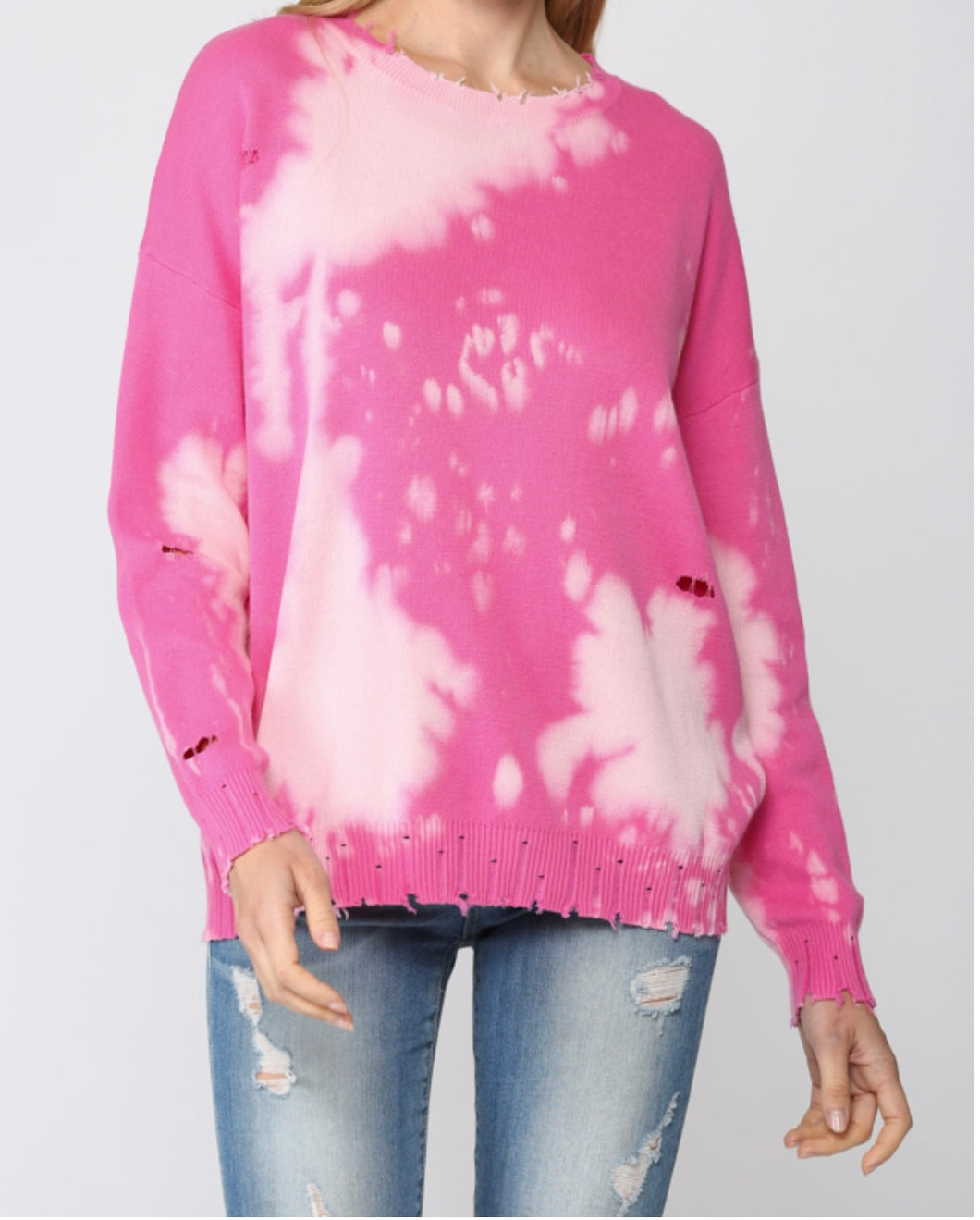 Bleached Distress Pullover Sweater | FATE