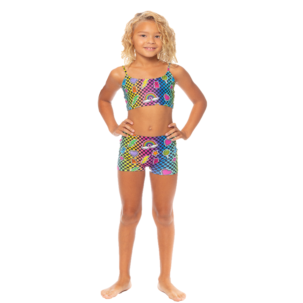 Rainbow Checkered Print Boy Shorts Little Girls 4-6x | Malibu Sugar