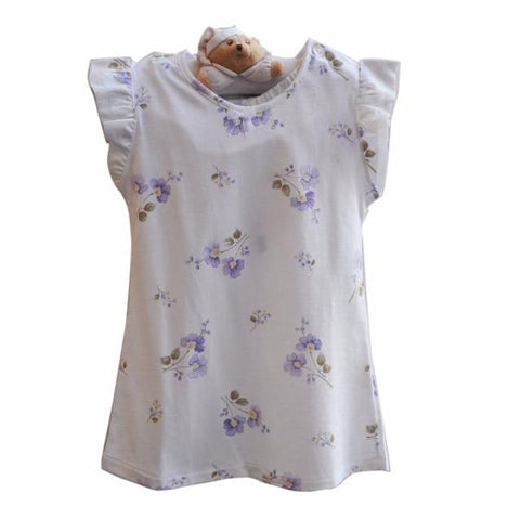 Girls Pajama Short Purple Flower