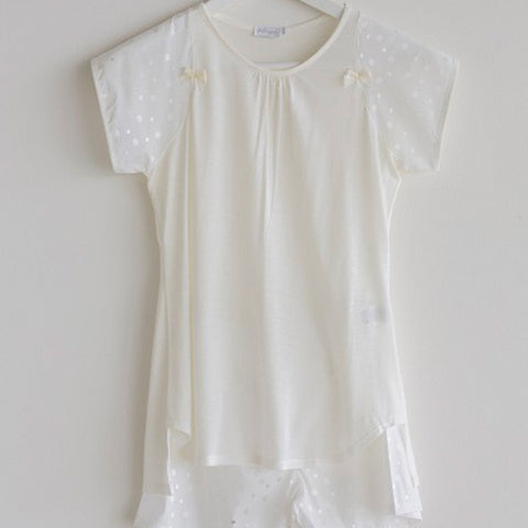 Girls Pajama Short Cream White