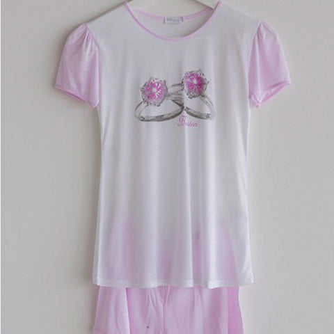 Girls Pajamas Short Pink Rings