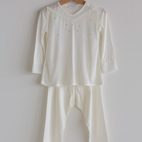 Girls Pajama Cream with Strass