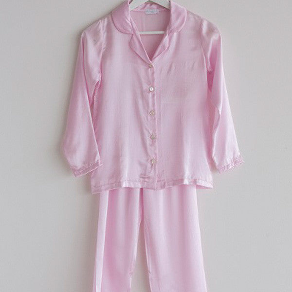 Girls Pajama Long Silk Pink