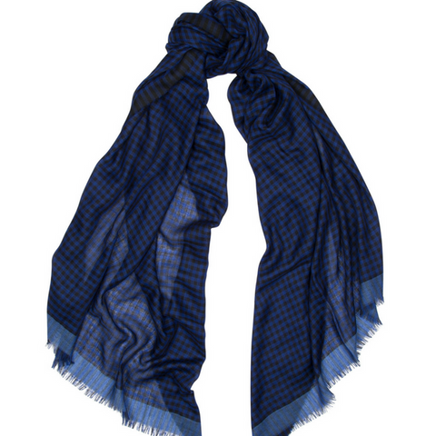 Maggie's Wispy Gingham Cashmere Scarf Begg & Co