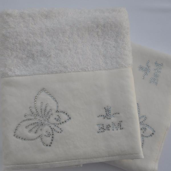 Papilio Cotton Hand Towel with Satin Border by David Home