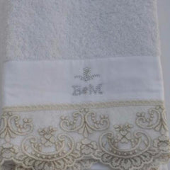 Chantal Cotton Guest Towel with Lace Embroidery by David Home