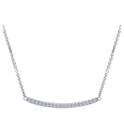 14k White Gold Diamond Bar