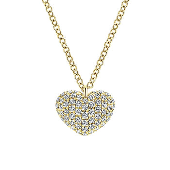 14k Yellow Gold Diamond Heart