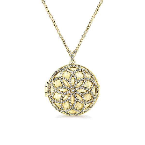14k Yellow Gold Diamond Locket