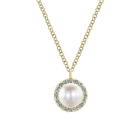 14k Yellow Gold Diamond Pearl Fashion